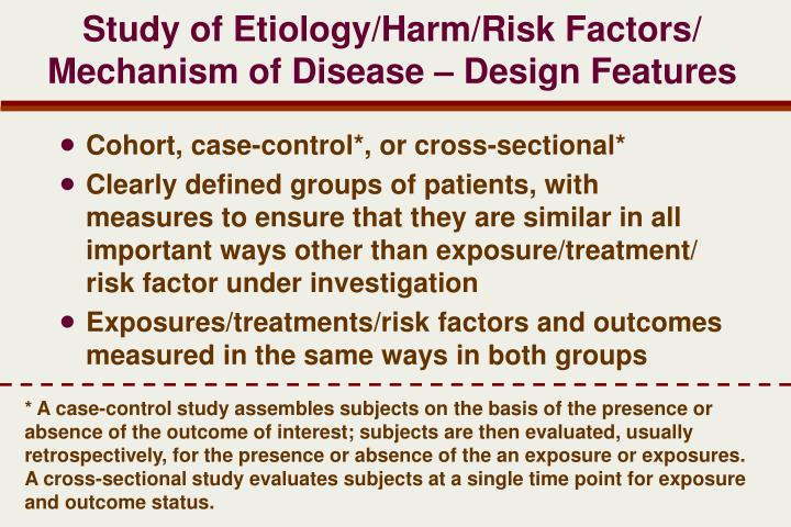 Study of Etiology/Harm/Risk Factors/ Mechanism of Disease – Design Features