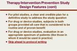 therapy intervention prevention study design features cont2