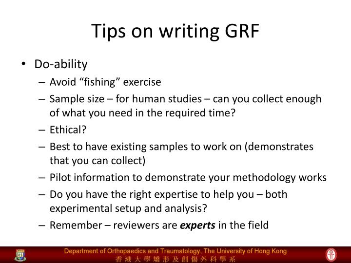 Tips on writing GRF