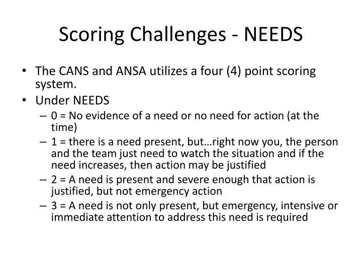 Scoring Challenges - NEEDS