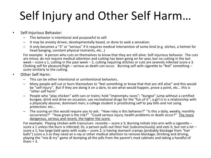 Self Injury and Other Self Harm…