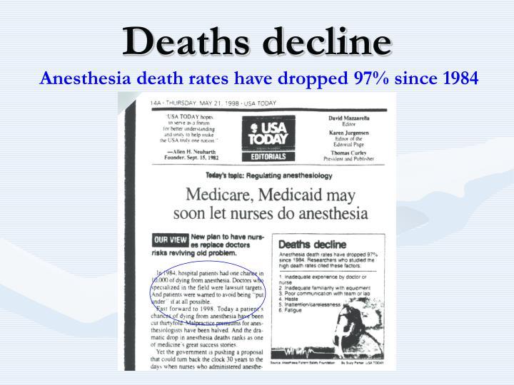 Deaths decline