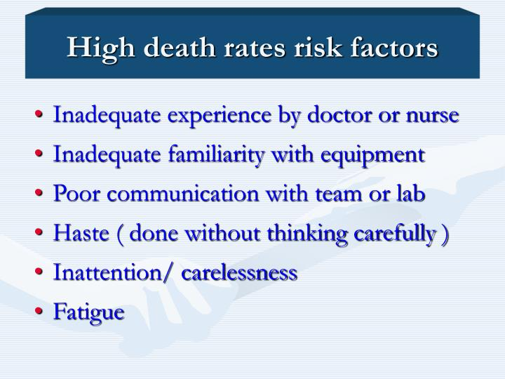 High death rates risk factors