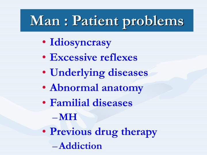 Man : Patient problems