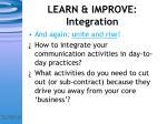 learn improve integration