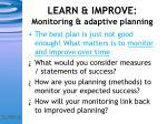 learn improve monitoring adaptive planning