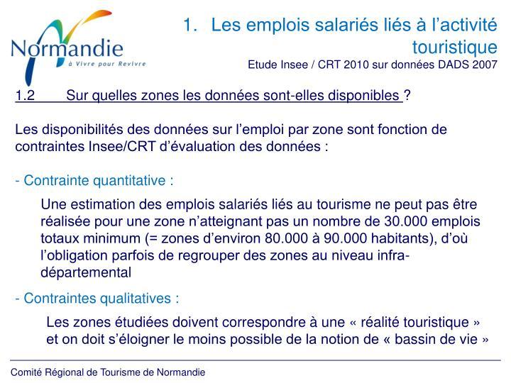Les emplois salariés liés à l'activité touristique