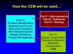 how the cem will be used
