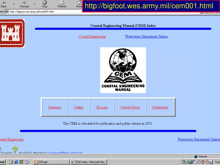 http://bigfoot.wes.army.mil/cem001.html