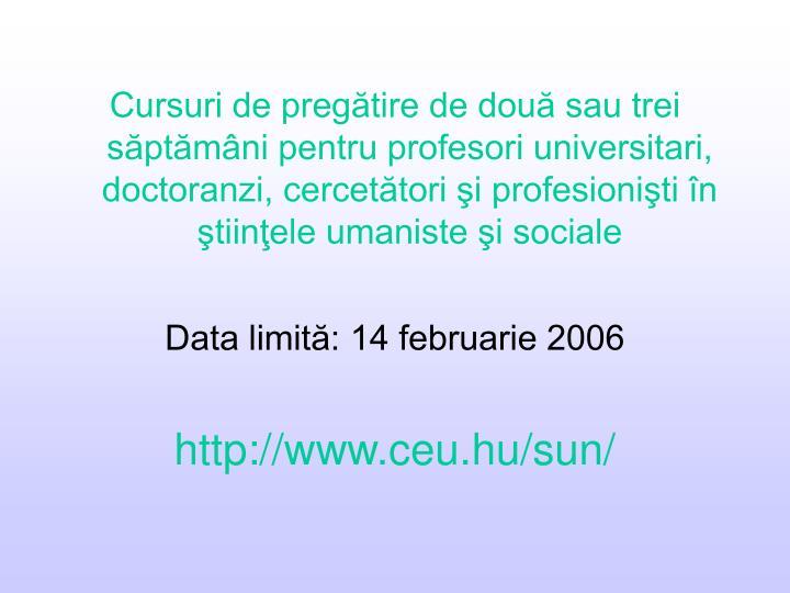 Cursuri de pregătire de două sau trei săptămâni pentru profesori universitari, doctoranzi, cercetători şi profesionişti în ştiinţele umaniste şi sociale