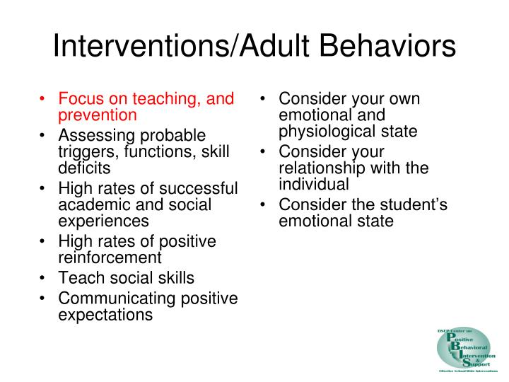 Focus on teaching, and prevention