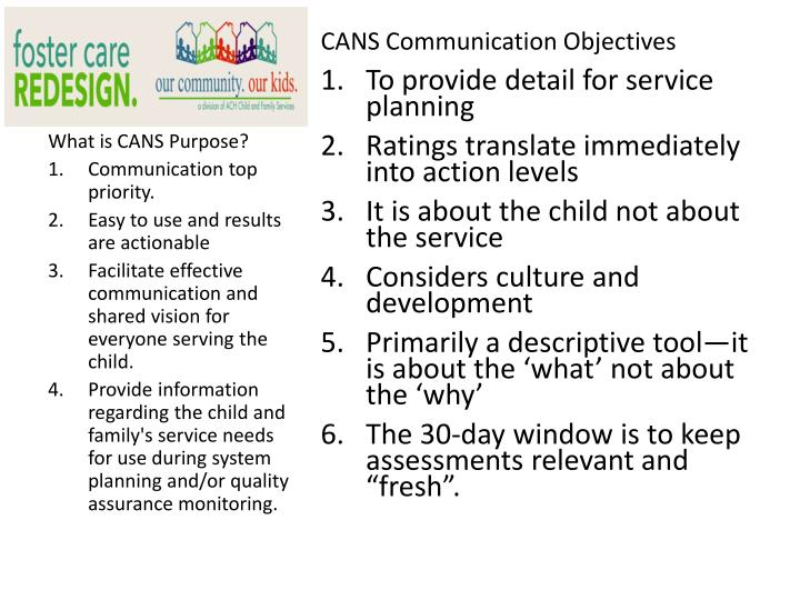 CANS Communication Objectives