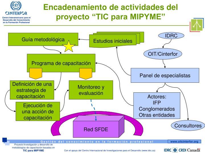 """Encadenamiento de actividades del proyecto """"TIC para MIPYME"""""""