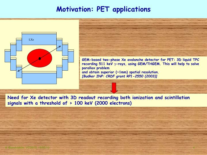 Motivation: PET applications
