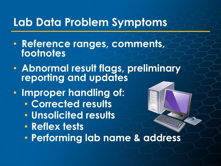 Lab Data Problem Symptoms
