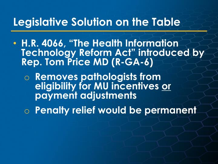 Legislative Solution on the Table