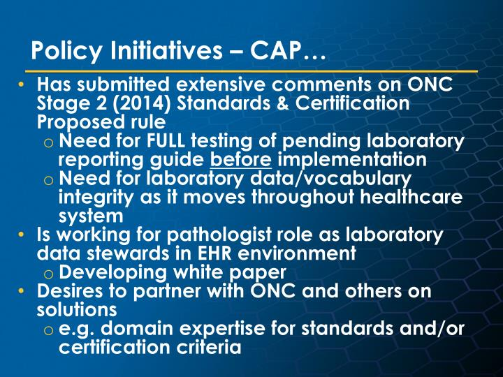 Policy Initiatives – CAP…