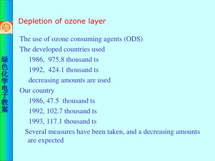 Depletion of ozone layer