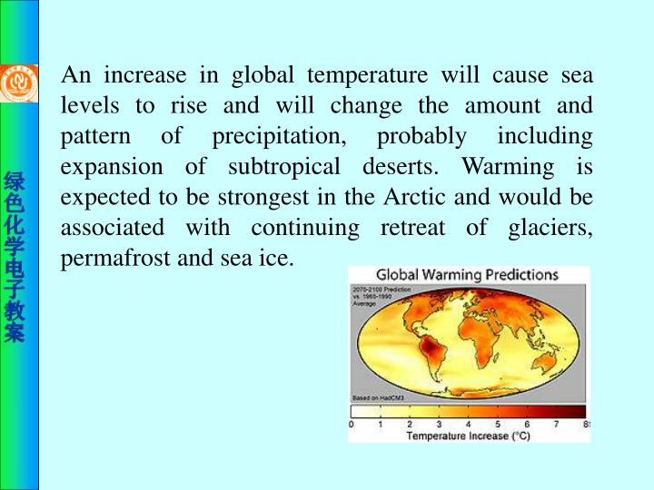 An increase in global temperature will cause sea levels to rise and will change the amount and pattern of precipitation, probably including expansion of subtropical deserts. Warming is expected to be strongest in the Arctic and would be associated with continuing retreat of glaciers, permafrost and sea ice.