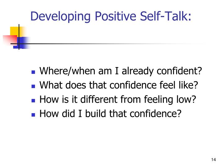 Developing Positive Self-Talk: