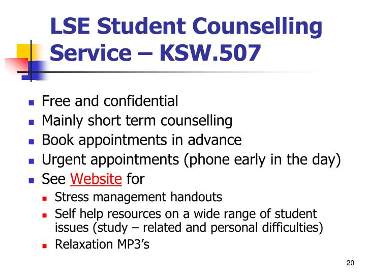 LSE Student Counselling Service – KSW.507