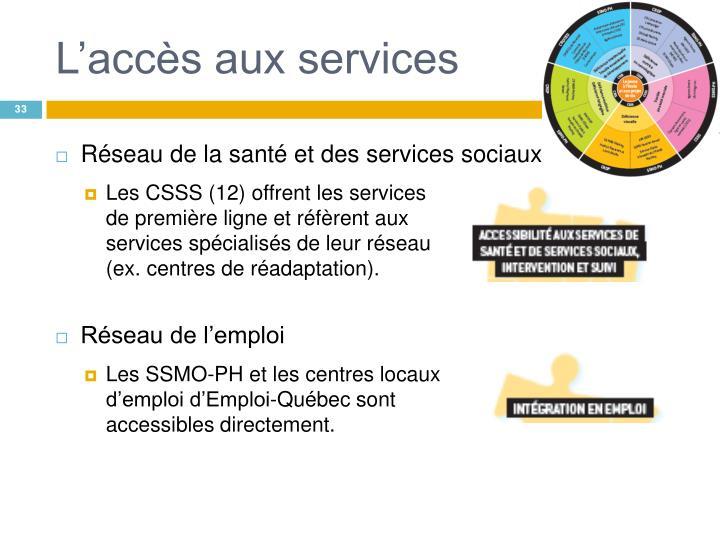 L'accès aux services