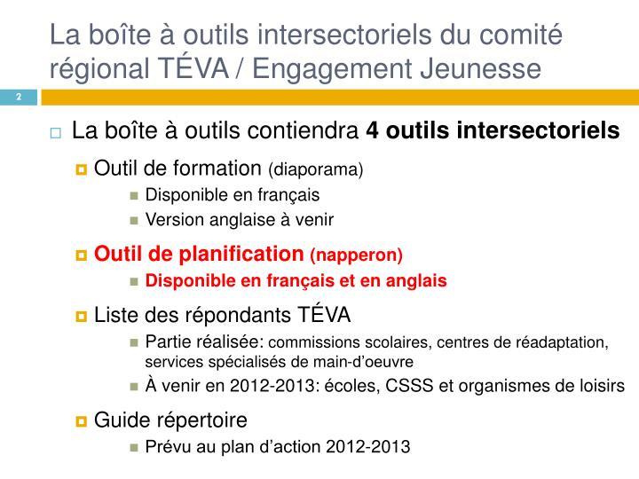 La boîte à outils intersectoriels du comité régional TÉVA / Engagement Jeunesse