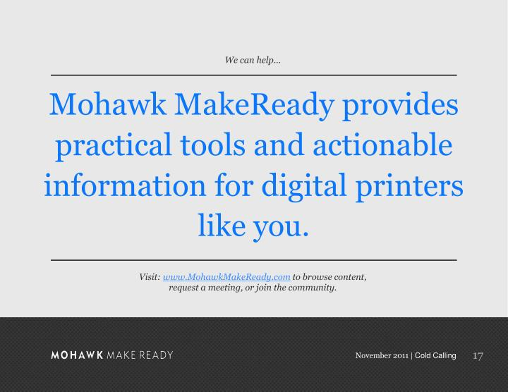 Mohawk MakeReady provides practical tools and actionable information for digital printers