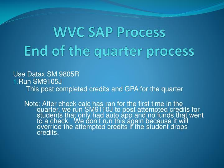 WVC SAP Process