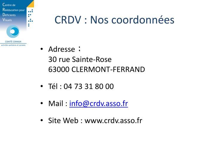 CRDV : Nos coordonnées