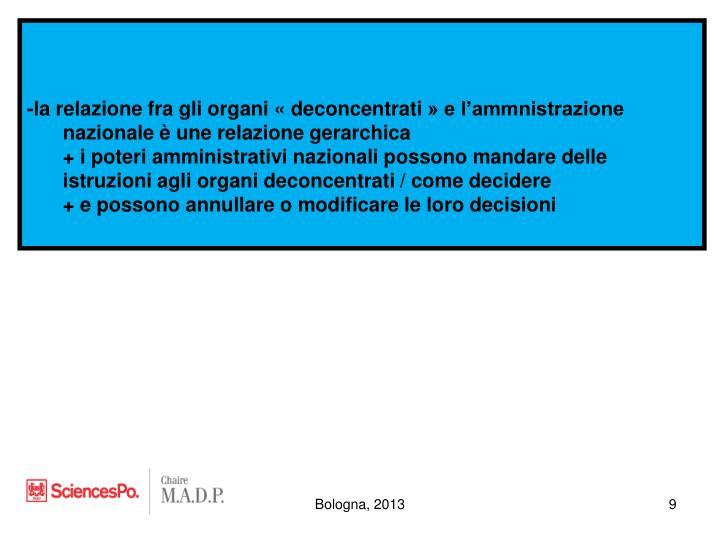 -la relazione fra gli organi «deconcentrati» e l'ammnistrazione nazionale è une relazione gerarchica