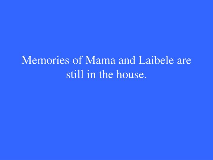 Memories of Mama and Laibele are still in the house.