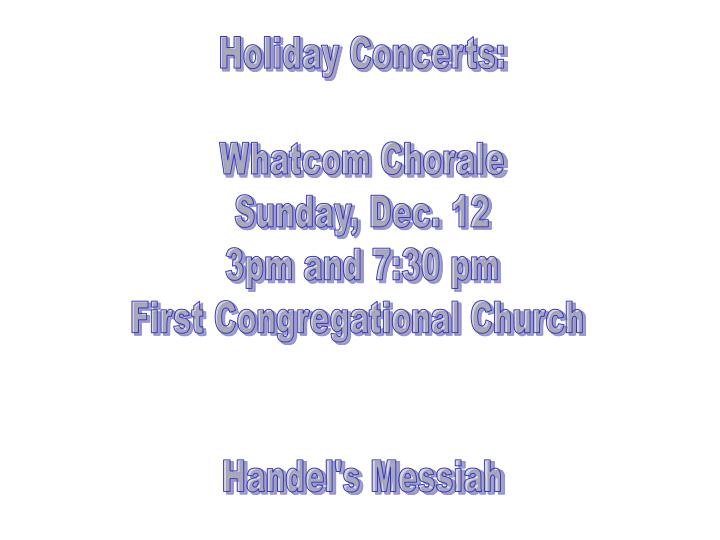 Holiday Concerts: