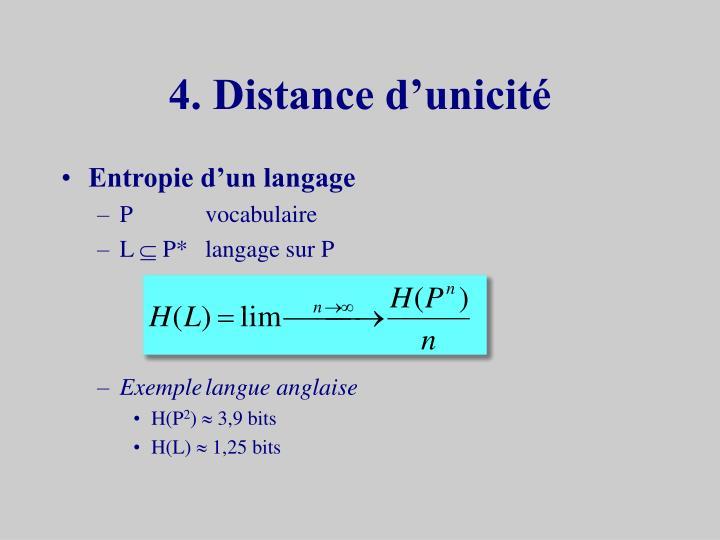 4. Distance d'unicité