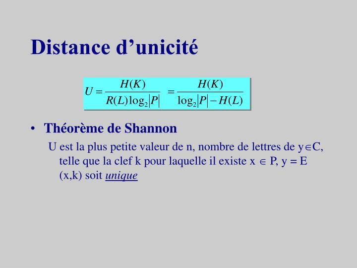 Distance d'unicité