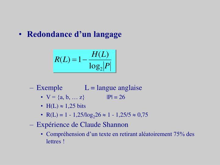 Redondance d'un langage