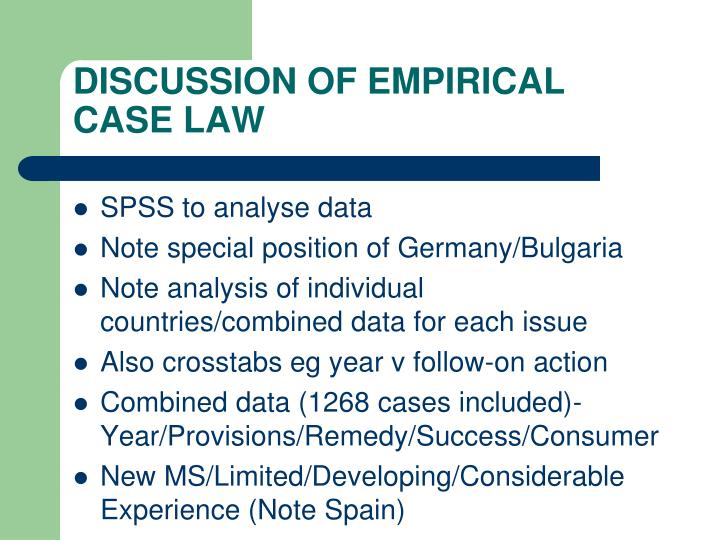 DISCUSSION OF EMPIRICAL CASE LAW