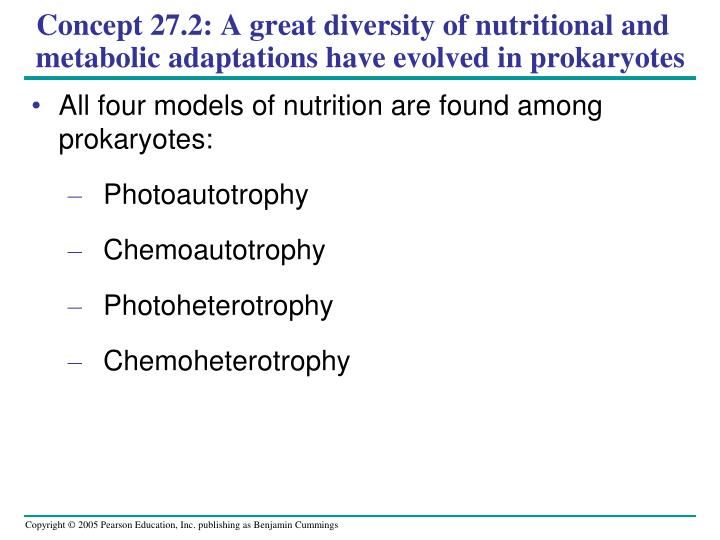Concept 27.2: A great diversity of nutritional and metabolic adaptations have evolved in prokaryotes