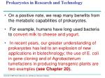 prokaryotes in research and technology1