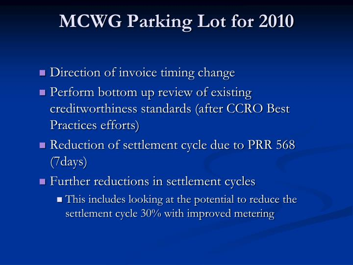 MCWG Parking Lot for 2010