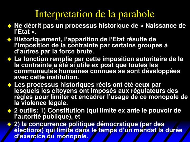 Interpretation de la parabole