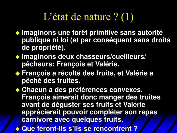 L'état de nature ? (1)