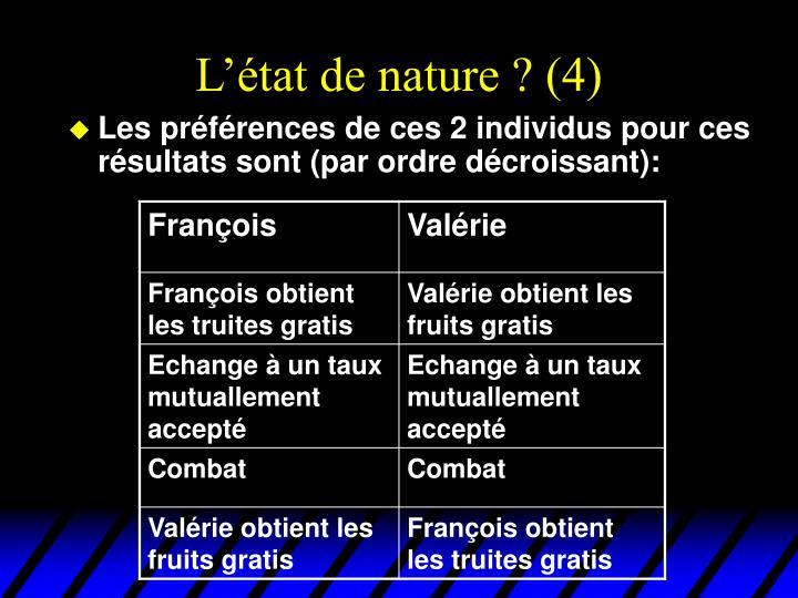 L'état de nature ? (4)