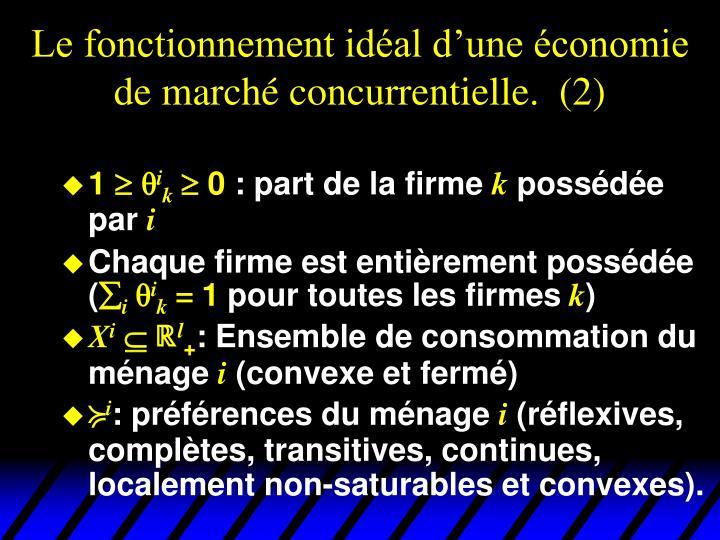 Le fonctionnement idéal d'une économie de marché concurrentielle.  (2)