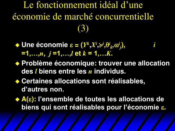 Le fonctionnement idéal d'une économie de marché concurrentielle (3)