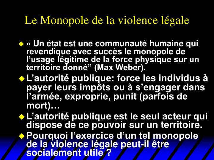Le Monopole de la violence légale