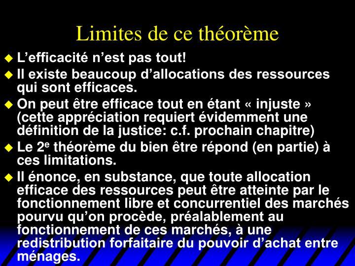 Limites de ce théorème