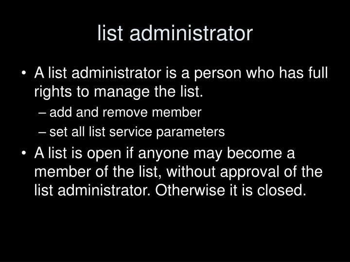 list administrator
