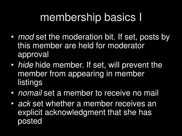 membership basics I