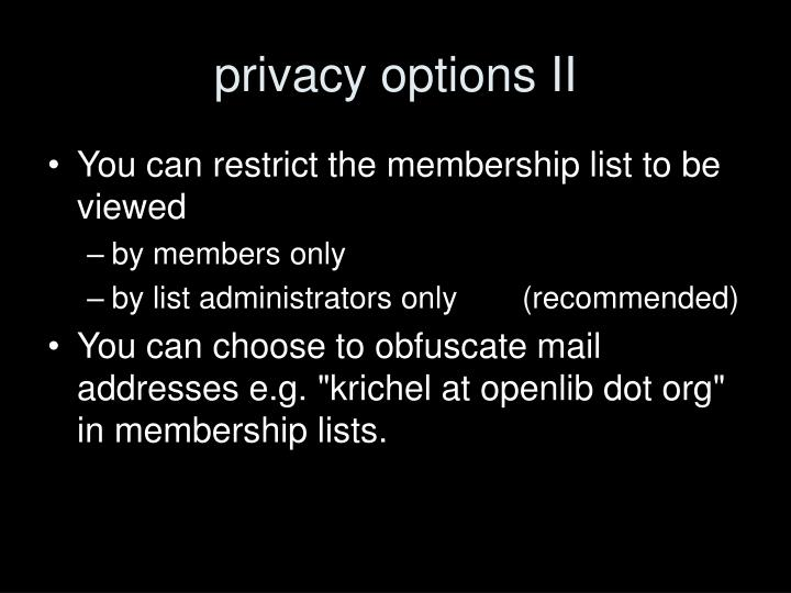 privacy options II